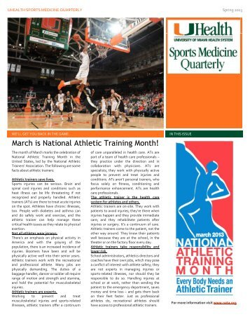 March is National Athletic Training Month! - Sports Medicine