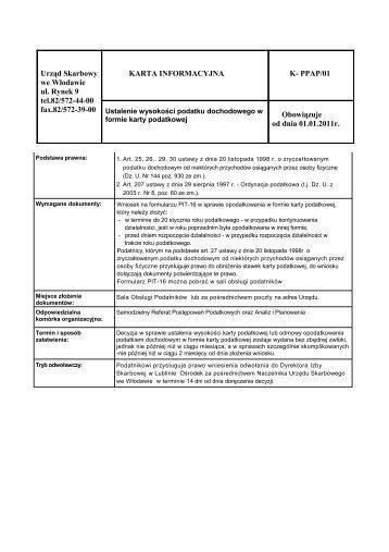 Urząd Skarbowy we Włodawie ul. Rynek 9 tel.82/572-44-00 fax.82 ...