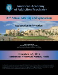 2012 Conference Highlights - American Academy of Addiction ...