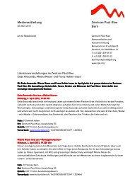 Medienmitteilung Zentrum Paul Klee Bern