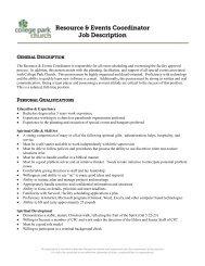 Resource & Events Coordinator Job Description - College Park ...
