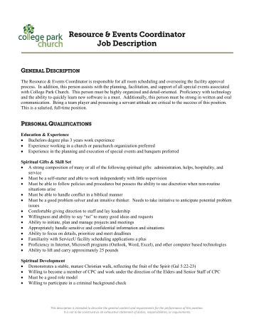 Event Coordinator Job Description - Pine Castle