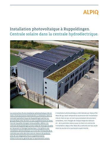 Installation photovoltaïque à Ruppoldingen. Centrale ... - Alpiq InTec