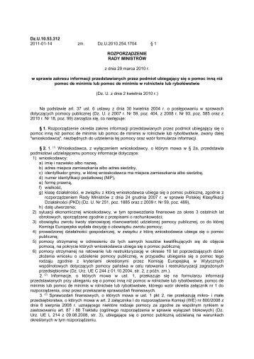 Załącznik nr 1 do rozporządzenia Rady Ministrów