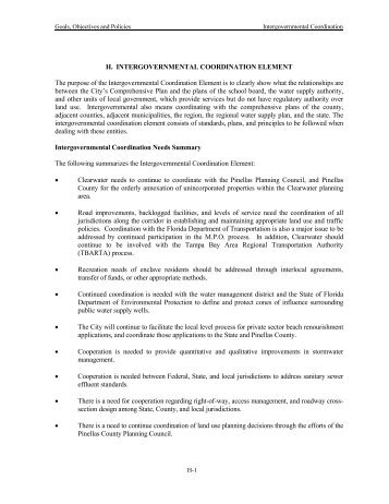 Intergovernmental Coordination Element - City of Clearwater
