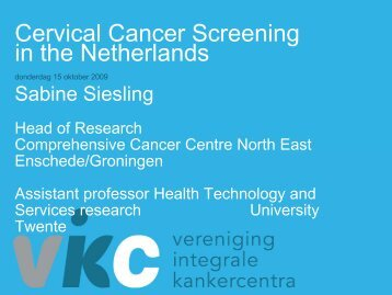 Cervical Cancer Screening in the Netherlands - Krebsregister NRW