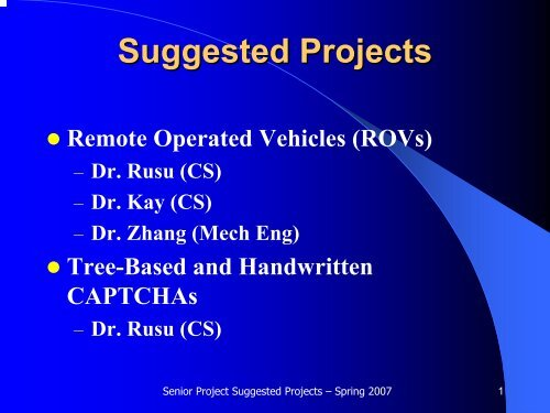 Suggested Projects