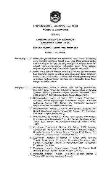 Lambang Daerah Dan Lagu Mars Kabupaten Luwu Timur