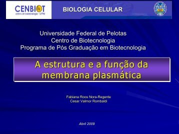 Membranas 1 - Universidade Federal de Pelotas