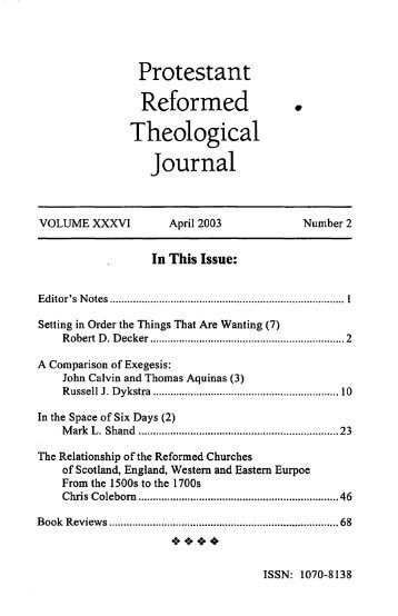Reformed Theological Journal - Protestant Reformed Churches in ...