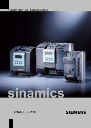 Parameter List Edition 04/03 SINAMICS G110 - Automatyka Siemens