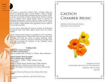 May 13, 2012 - Caltech Performing and Visual Arts
