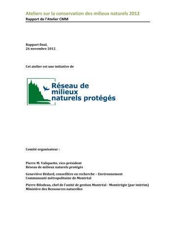 Ateliers sur la conservation des milieux naturels 2012 - Nature Québec