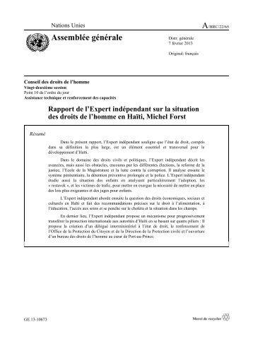 le rapport de l'Expert indépendant sur la situation des droits de l ...