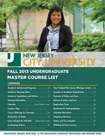 Fall 2013 undergraduate course information - New Jersey City ...