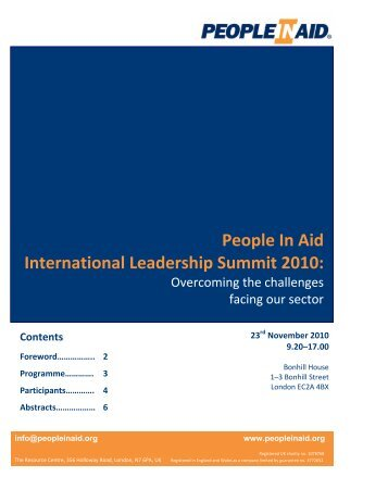 International leadership Summit Briefing Pack - People In Aid