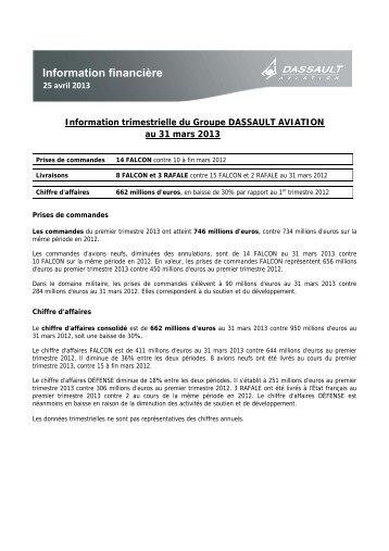 Information trimestrielle au 31/03/2013 ... - Dassault Aviation