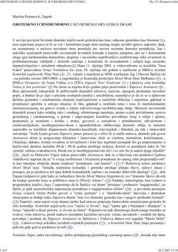 groteskno i crnohumorno u suvremenoj hrvatskoj drami