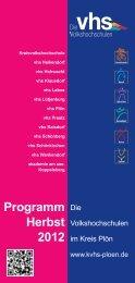 Programm Herbst 2012 - KVHS Plön