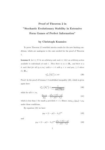 """Proof of Theorem 2 in """"Stochastic Evolutionary Stability in Extensive ..."""