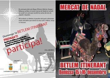 BETLEM ITINERANT Benissa 15 i 16 desembre MERCAT DE NADAL