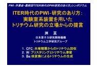 ITER時代のPWI‐研究のあり方: 実験室系装置を用いた トリチウム研究の立場 ...