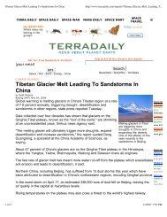 Tibetan Glacier Melt Leading To Sandstorms In China