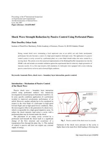 Shock Wave Strength Reduction by Passive Control Using - LMFA