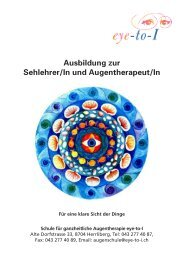 Schule für Augentherapie Eye to I - Schweizer Berufsverband der ...