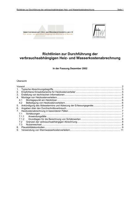 Richtlinien zur Durchführung der verbrauchsabhängigen Heiz- und ...