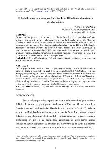 El Bachillerato de Arte desde una Didáctica de las TIC aplicada al ...