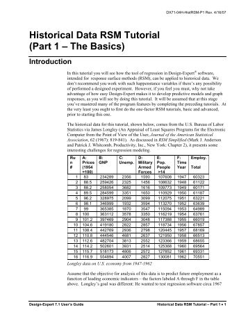 Historical Data RSM Tutorial (Part 1 – The Basics) - Statease.info