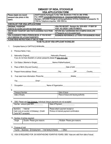 emby-of-india-stockholm-visa-application-form Job Application Form Us Emby on
