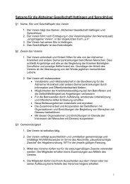 Satzung für die Alzheimer Gesellschaft Hattingen und Sprockhövel