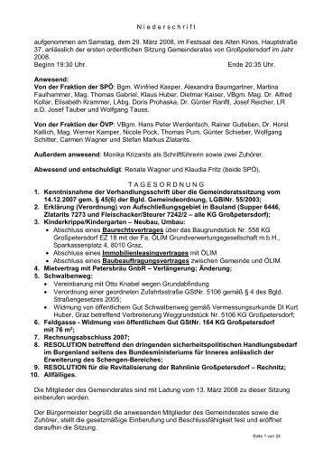 Protokoll vom 29. März 2008 - Marktgemeinde Grosspetersdorf