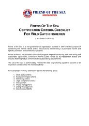 FOR WILD CATCH FISHERIES - Friend of the Sea