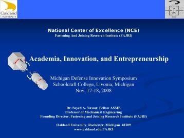 Academia, Innovation, and Entrepreneurship