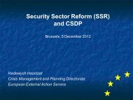 Security Sector Reform (SSR) and CSDP - Capacity4Dev