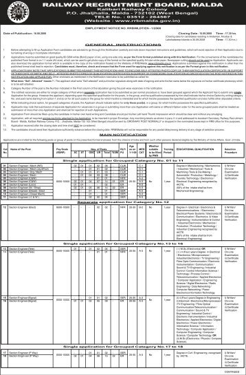 RRB Notification 26 4 08 - Railway Recruitment Board, Malda
