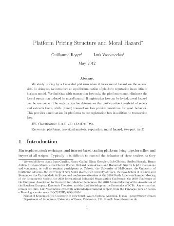 Platform Pricing Structure and Moral Hazard - Bachelier Finance ...