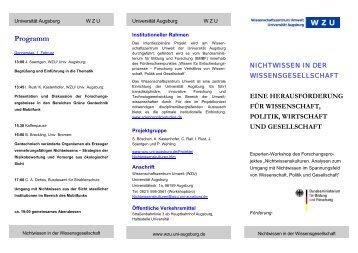 Programm - WissenschaftsZentrum Umwelt - Universität Augsburg