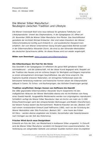 Die Wiener Silber Manufactur: Neubeginn zwischen ... - Juicy Pool