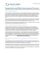 Inspection and Risk Assessment Process - Interior Health Authority