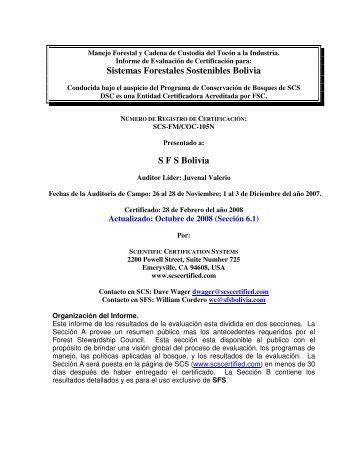 Sistemas Forestales Sostenibles Bolivia S F S Bolivia - SCS Global ...