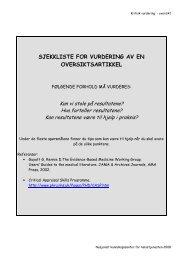 sjekkliste for vurdering av en oversiktsartikkel - Kunnskapssenteret