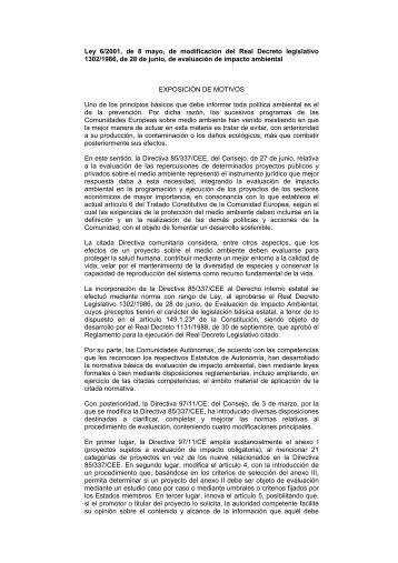 Ley 6/2001, de 8 mayo, de modificación del Real Decreto legislativo ...