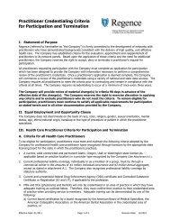 Healthcare Provider Criteria for Participation