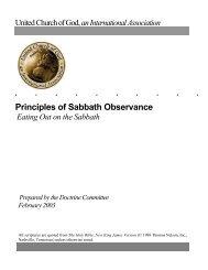Principles of Sabbath Observance - United Church of God