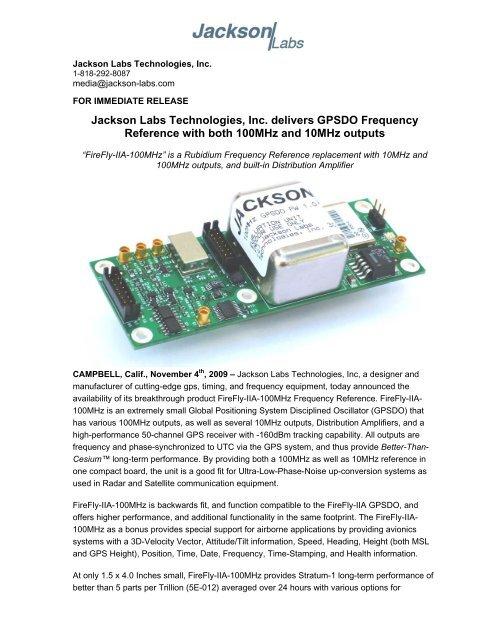 FireFly-IIA-100MHz Press Release - Jackson Labs Technologies, Inc