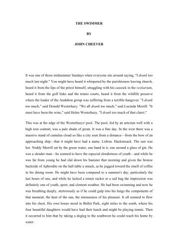 john cheevers the swimmer essay Essays and criticism on john cheever's the swimmer - the swimmer, john  cheever.